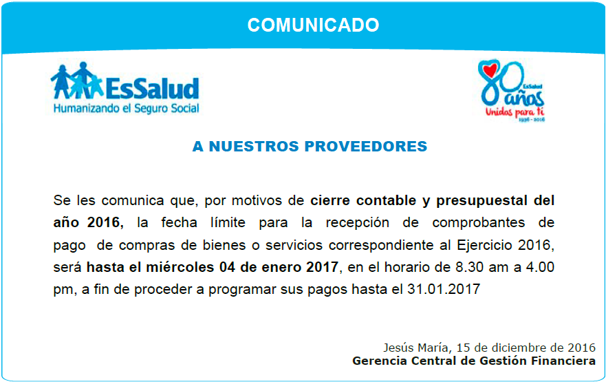 COMUNICADO: GERENCIA CENTRAL DE GESTIÓN FINANCIERA  (30/11/2016)