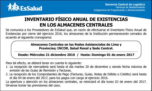 INVENTARIO FÍSICO ANUAL DE EXISTENCIAS EN LOS ALMACENES CENTRALES: (30/11/2016)